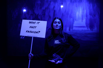 A model presents a creation during the Zero Waste Daniel immersive fashion show at Arcadia Earth in the Manhattan borough of New York City