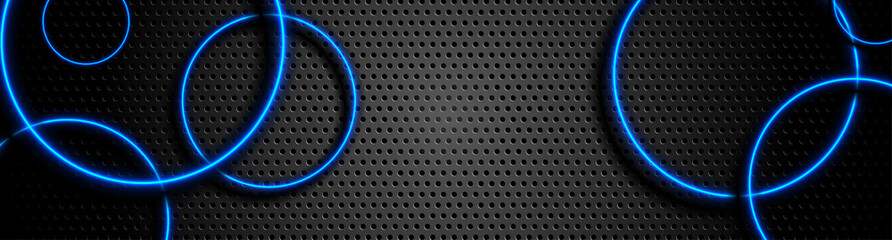 Fotobehang - Futuristic perforated technology abstract background with blue neon glowing circles. Vector banner design