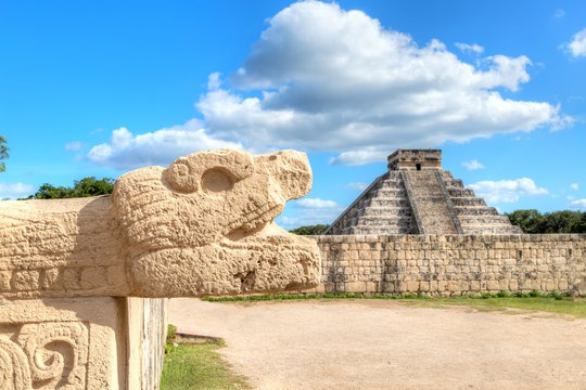 Chichen Itza Snake Head and Pyramid of Kukulcan in Yucatan Peninsula, Mexico