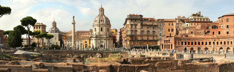 Panorama of the Remains of The Forum of Augustus in Roma Fotomurales