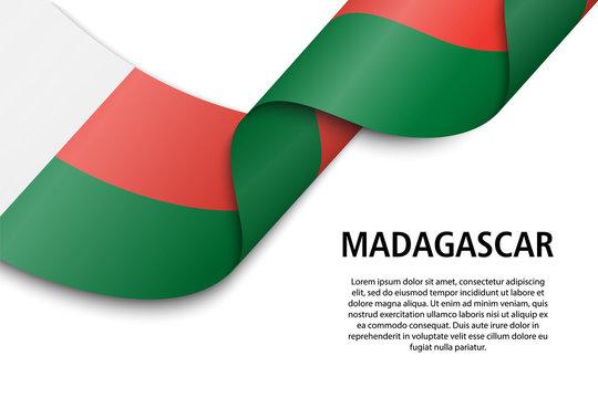 Waving ribbon or banner with flag madagascar