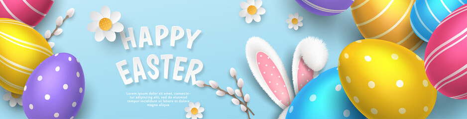 Vector cute horizontal greeting banner with fur ears of bunny, realistic colored 3D eggs, paper pussy willow and chamomiles on blue background. Festive cartoon template with paper text Happy Easter.