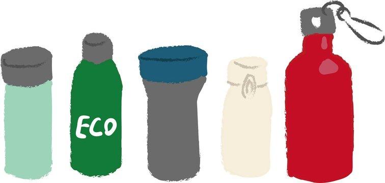 タンブラー 水筒の手描きイラスト