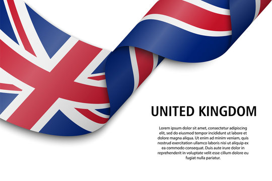 Waving ribbon or banner with flag United Kingdom