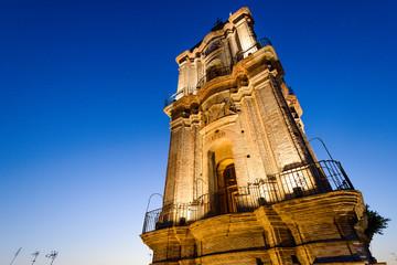 Bell tower of the Church of San Juan in Malaga, Spain
