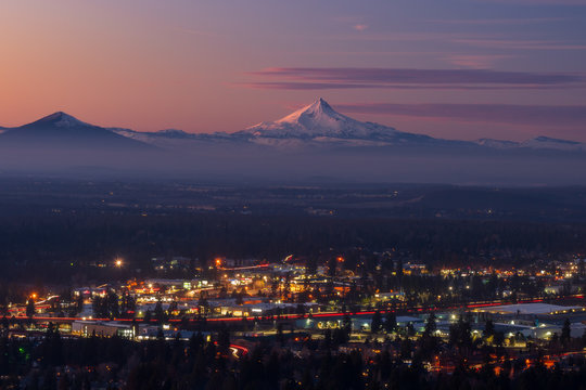 City Lights and Mountain - Bend Oregon