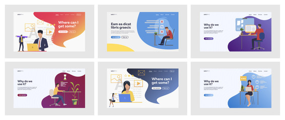 Set of managers working on project in deadline. Flat vector illustrations of customers rating media online. Rating, deadline, pressure concept for banner, website design or landing web page