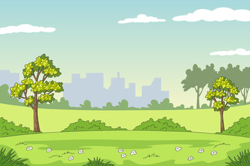 Wall Mural - Cartoon summer landscape with trees and flowers. Hand drawn vector illustration with separate layers.