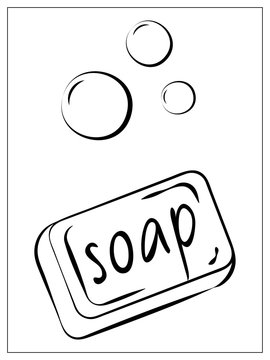 Vector soap with foam flat icon. Single high quality outline symbol of soap