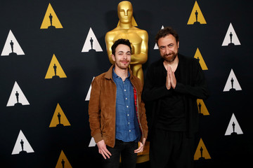"""Megherbi and Piat, nominated for an Oscar for Best Short Film (Live Action) for """"Nefta Football Club,"""" pose at a reception at the Academy of Motion Picture Arts and Sciences in Beverly Hills"""