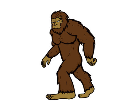 Detailed Bigfoot with Walking Gesture Illustration