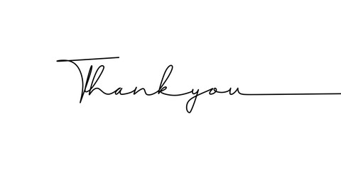Fototapeta thank you text one line drawing continuous style. Vector illustration typography lettering word or phrase. Minimalist design for banner, poster, and card. obraz