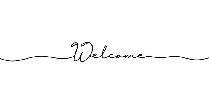 Continuous line drawing of welcome text. Vector illustration typography lettering word or phrase. Minimalist design for banner, poster, and card.