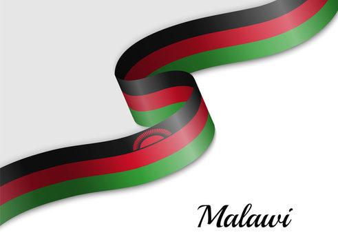 waving ribbon flag Malawi