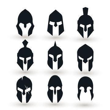 Spartan helmet vector set.