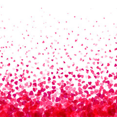Fototapete - Valentines day card. Heart confetti falling over white background for greeting cards, wedding invitation.