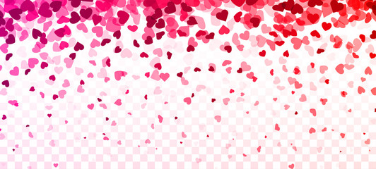 Fototapete - Valentines day card. Heart confetti falling over gradient pink background for greeting cards, wedding invitation.