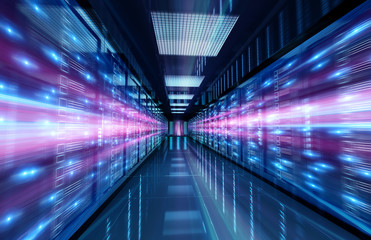 Servers data center room with bright speed light through the corridor 3D rendering