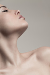 Obraz natural beauty concept young woman  profile  face and neck studio shot - fototapety do salonu