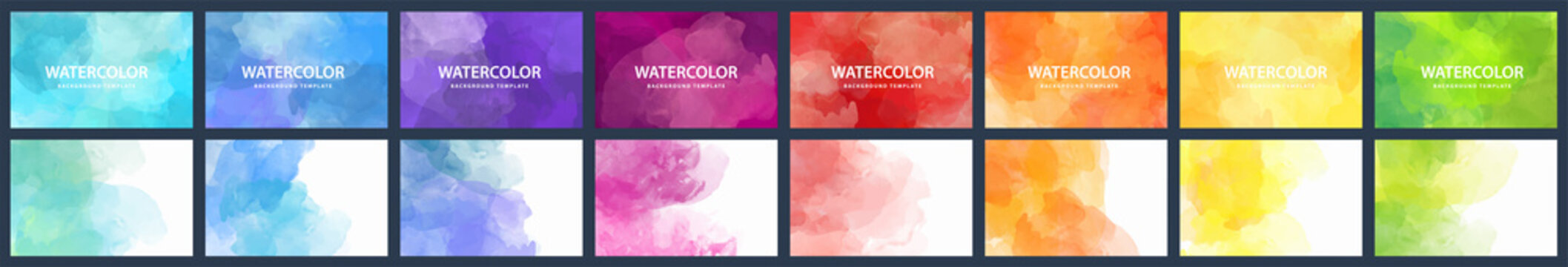 Bundle set of vector colorful watercolor backgrounds for business card or flyer template