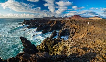 Aluminium Prints Dark grey amazing Los Hervideros lava's caves in Lanzarote island