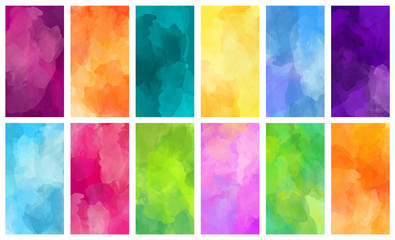 Fotobehang - Big set of bright vector colorful watercolor hand painted backgrounds