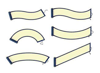 Japanese traditional scroll paper vector illustration set / blue
