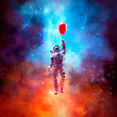 Dream of escape / 3D illustration of surreal science fiction scene with astronaut floating into space using red balloon