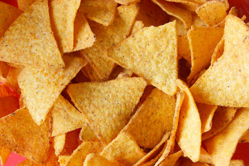 Background of Corn Tortilla Chips or Nachos