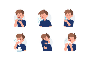 Fototapeta Kid Character Sneezing and Coughing Right and Wrong. Medical Recommendation How to Sneeze Properly. Prevention against Virus and Infection. Hygiene Concept.  Flat Cartoon Vector Illustration. obraz