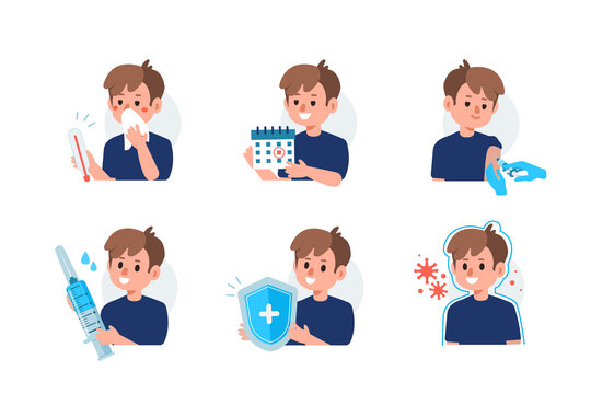 Flu Disease Symptoms and Prevention against Virus and Infection. Character holding Calendar and Preparing for Vaccination. Immunization Campaign Concept. Flat Cartoon Vector Illustration.