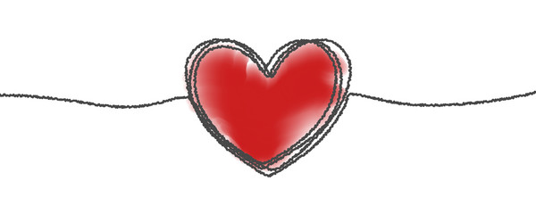 Fototapete - Heart hand drawn sketch doodle, vector tangled thin line thread divider with red background. Valentine day love, wedding, birthday or charity heart design, scribble shape