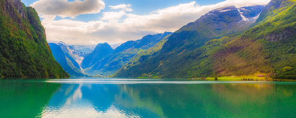 Norwegian landscape banner with Nordfjord fjord, mountains and glacier in Olden, Norway