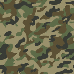 Texture military camouflage seamless pattern green. Vector army camo or  hunting background print, fashionable stylish element for textile