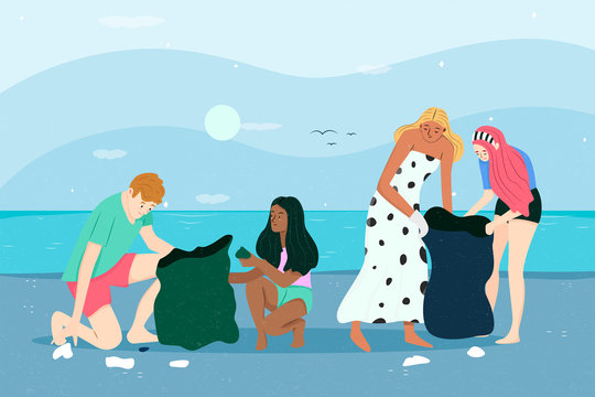 People cleaning beach EPS10.Vector