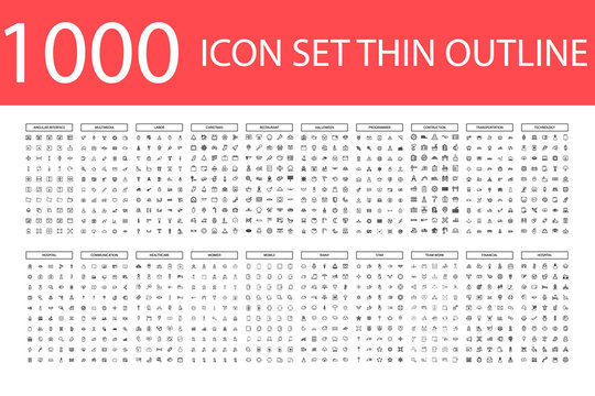 1000 Vector illustration of thin line icons for business, social media, technology,Christmas,Halloween , labor ,restaurant, medicine, travel, weather, construction, arrow. Linear symbols set