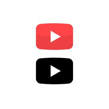 Play vector button icon. Red button video play arrow symbol