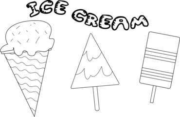 Coloring page vector with three ice cream pictures