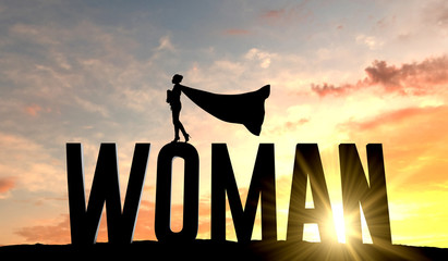 Silhouette of superhero woman stood on the word woman. 3D Rendering