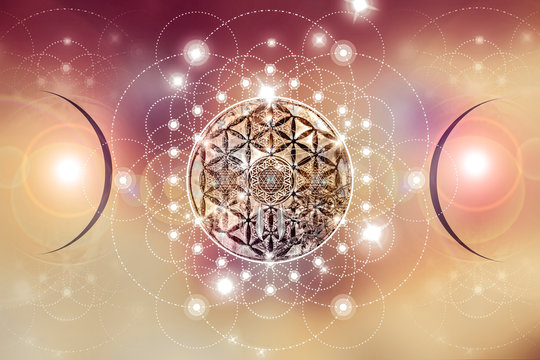 Abstract mandala picture with sacred geometry elements