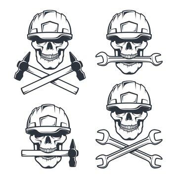 Skull mechanic in hard hat with wrench. Skeleton repairman in helmet with hammer. Vintage logo vector illustration.