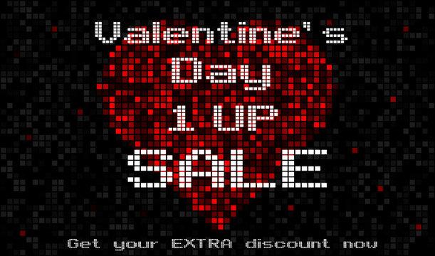 Pixelove 5x3 valentine's day 1UP sale black bg