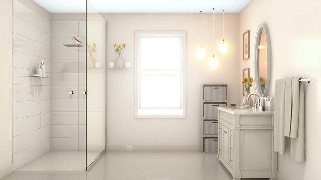 Modern Pale Cream Bathroom Interior