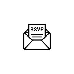 RSVP icon envelope date stamp vector invitation. rsvp message envelope