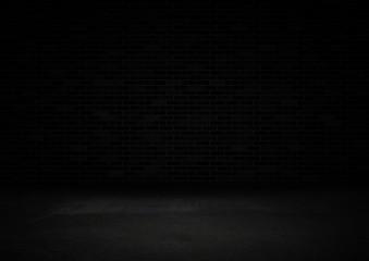 Empty black product showcase background, Black brick wall