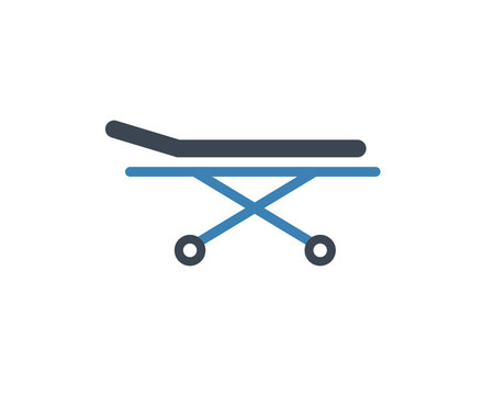 Stretcher bed icon. Vector patient hospital medical stretcher