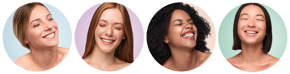 Diverse young women cheerfully laughing