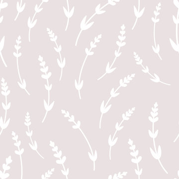 Minimalistic vintage vector seamless pattern of lavender flowers in scandinavian style. For textiles, wallpapers, designer paper, etc