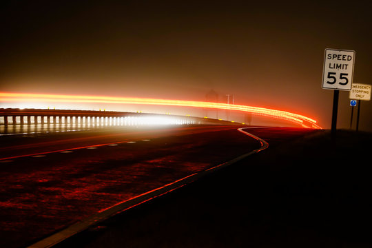 Solomons, Maryland, USA, The Rte 4 highway at night.