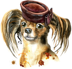 Watercolor portrait of long-haired toy terrier with brown cap with bow on the side